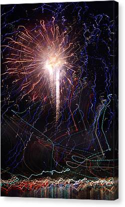 Celebration Fireworks Grand Lake Co 2007 Canvas Print by Jacqueline Russell