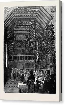 Celebration Of Palm Sunday In The Hall Of Sackville College Canvas Print by English School