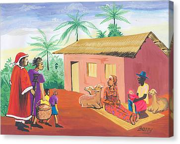 Canvas Print featuring the painting Celebration Of The Nativity In Cameroon by Emmanuel Baliyanga