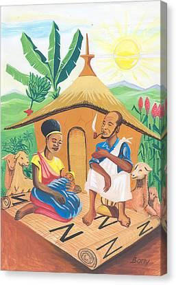 Canvas Print featuring the painting Celebration Of The Nativity In Rwanda by Emmanuel Baliyanga