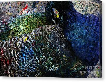 Canvas Print featuring the digital art Celebration Of The Peacock #2 by Nola Lee Kelsey