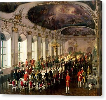 Celebration On The Occasion Of The Anniversary Of The Military Order Of Maria Theresa, 1861 Canvas Print by Siegmund L'Allemand