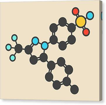 Reliefs Canvas Print - Celecoxib Inflammation Drug Molecule by Molekuul