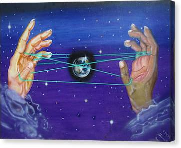 Canvas Print featuring the painting Celestial Cats Cradle by Thomas J Herring