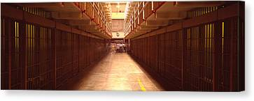 Cell Block In A Prison, Alcatraz Canvas Print by Panoramic Images