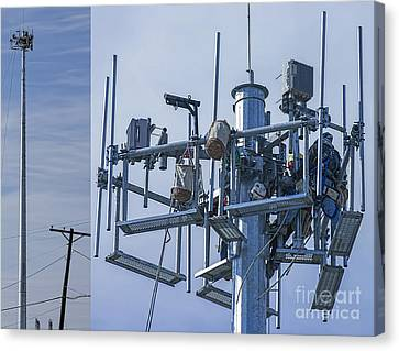 Cell Tower Workers Canvas Print by D Wallace