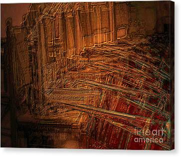Canvas Print featuring the digital art Celli On Chairs by Mojo Mendiola