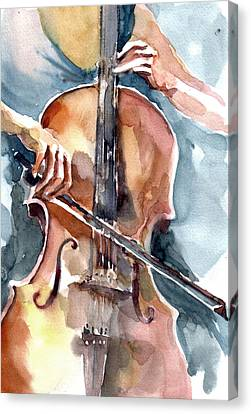 Canvas Print featuring the painting Cellist by Faruk Koksal