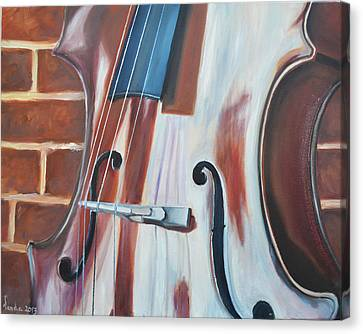 Cello And Brick Canvas Print by Vanda Bleavins