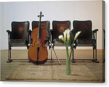 Cello Leaning On Attached Chairs Canvas Print