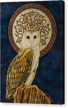 Celtic Barn Owl Canvas Print by Beth Clark-McDonal