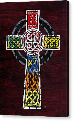 On Wood Canvas Print - Celtic Cross License Plate Art Recycled Mosaic On Wood Board by Design Turnpike