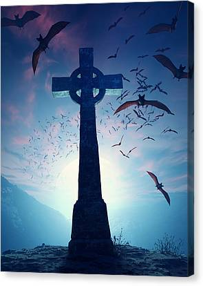 Celtic Cross With Swarm Of Bats Canvas Print by Johan Swanepoel