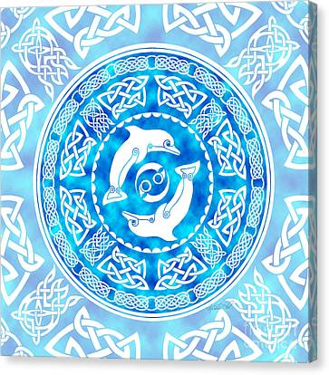 Canvas Print featuring the mixed media Celtic Dolphins by Kristen Fox
