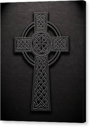 Canvas Print featuring the digital art Celtic Knotwork Cross 1 Black Leather Texture by Brian Carson