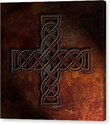 Celtic Knotwork Cross 2 Rust Texture Canvas Print by Brian Carson