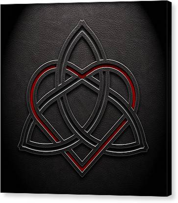Canvas Print featuring the digital art Celtic Knotwork Valentine Heart Leather Texture 1 by Brian Carson