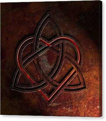 Celtic Knotwork Valentine Heart Rust Texture 1 Canvas Print by Brian Carson