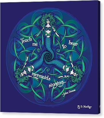 Celtic Art Canvas Print - Celtic Mermaid Mandala In Blue And Green by Celtic Artist Angela Dawn MacKay