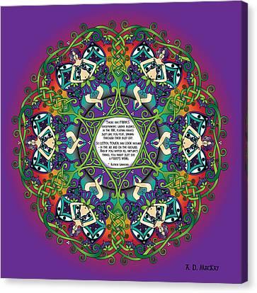 Celtic Spring Fairy Mandala Canvas Print by Celtic Artist Angela Dawn MacKay