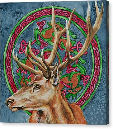 Celtic Stag Canvas Print by Beth Clark-McDonal