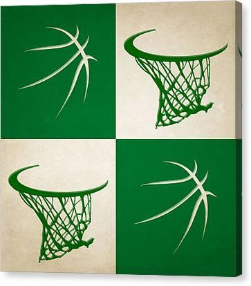 Boston Celtics Canvas Print - Celtics Ball And Hoop by Joe Hamilton