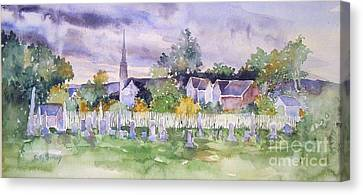 Cemetary Watercolor Canvas Print by Sally Simon