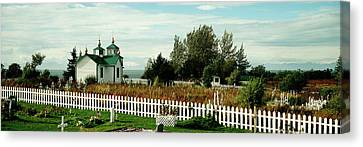 Cemetery And A Church, Russian Orthodox Canvas Print