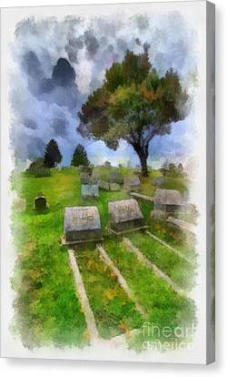 Cemetery Clouds Canvas Print by Amy Cicconi