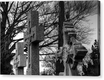 Crosses Canvas Print - Cemetery Crosses by Jennifer Ancker