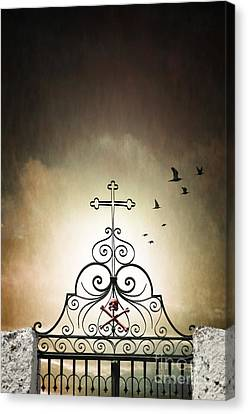 Creepy Canvas Print - Cemetery Gate by Carlos Caetano