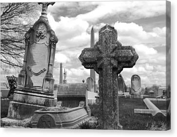 Cemetery Graves Canvas Print by Jennifer Ancker