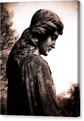 Cemetery Grief Canvas Print by Sonja Quintero