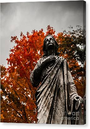 Cemetery In Fall Canvas Print by Sonja Quintero