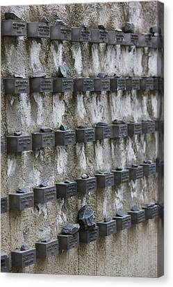 Cemetery Wall With Names Of Holocaust Canvas Print