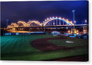 Centennial Bridge And Modern Woodmen Park Canvas Print