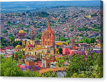 Center Of San Miguel De Allende Canvas Print by Nicola Fiscarelli