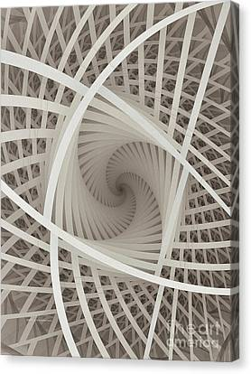 Centered White Spiral-fractal Art Canvas Print by Karin Kuhlmann