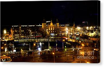 Centraal Station At Night Canvas Print by Pravine Chester