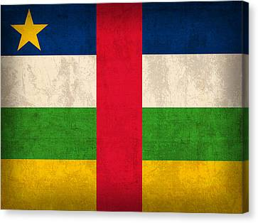Central African Republic Flag Vintage Distressed Finish Canvas Print