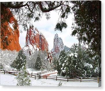 Central Garden Of The Gods After A Fresh Snowfall Canvas Print