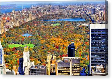 Central Park And Manhattan In Autumn Canvas Print by Dan Sproul