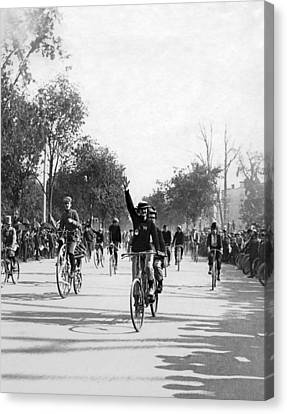 Central Park Bicycle Parade Canvas Print by Underwood Archives