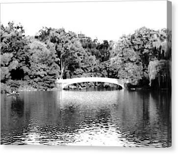 Canvas Print featuring the photograph Central Park Bridge by Justin Lee Williams