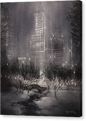 Winter Scene Canvas Print - Central Park Gapstow Bridge Nyc by Tom Shropshire