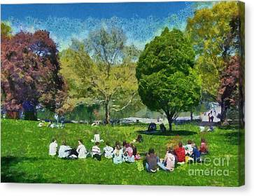 Central Park Canvas Print - Central Park In New York by George Atsametakis