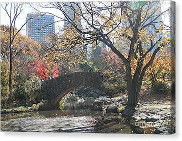 Canvas Print featuring the digital art Central Park In The Fall-3 by Steven Spak