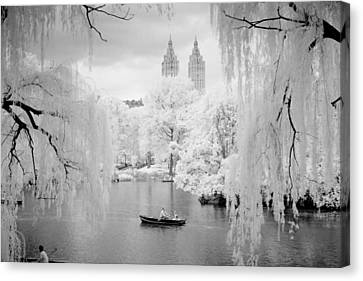 Canvas Print featuring the photograph Central Park Lake-infrared Willows by Dave Beckerman