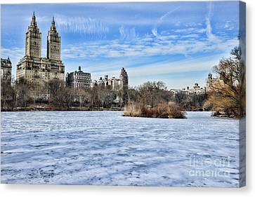 Central Park Lake Looking West Canvas Print by Paul Ward