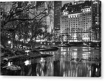 Central Park Lake Night Canvas Print by Dave Beckerman
